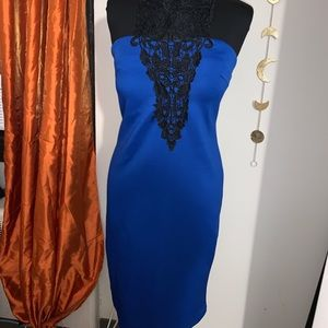 Blue dress with black lacing